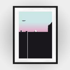Poster Berliner Himmel mit Flugzeug
