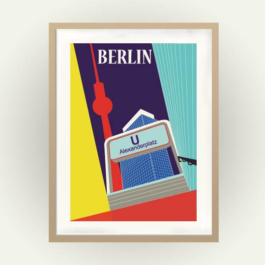 Berlin Poster Alexanderplatz im Vintage Travel Poster Stil