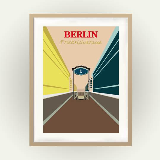 Berlin Poster im Retro Reiseposter Stil