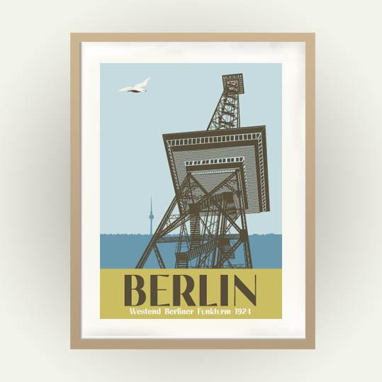 Berlin Poster mit Berliner Funkturm in Vintage Travel Poster Stil