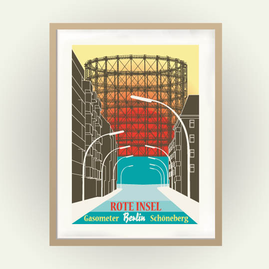 Berlin Poster Gasometer Schöneberg im Retro Travel Poster Stil