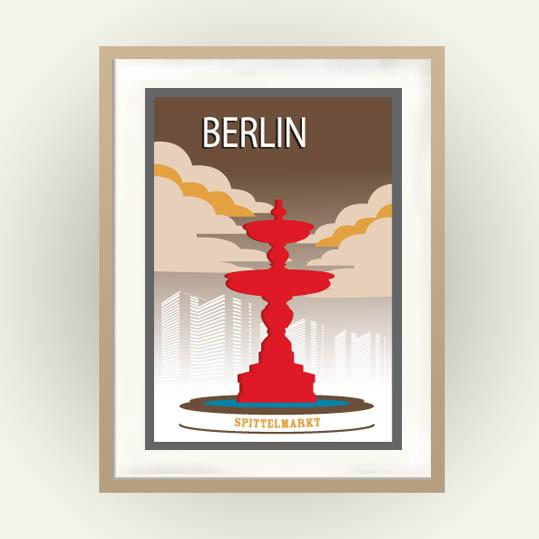 Berlin Vintage Travel Poster: Spittelmarkt