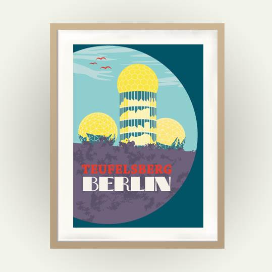 Berlin Poster im Retrostil mit der Abhörstation Teufelsberg