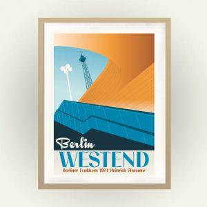 Das Poster Berlin Westend zeigt den U-Bahneingang und den Funkturm in leuhtendem blau und orange
