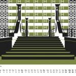 Berlin Kalender 2017: Grafik: Jungfernbrücke und Plattenbaufassade