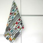 hochwertiges Geschirrtuch mit Textildesign, inspiriert vom Corbusierhaus