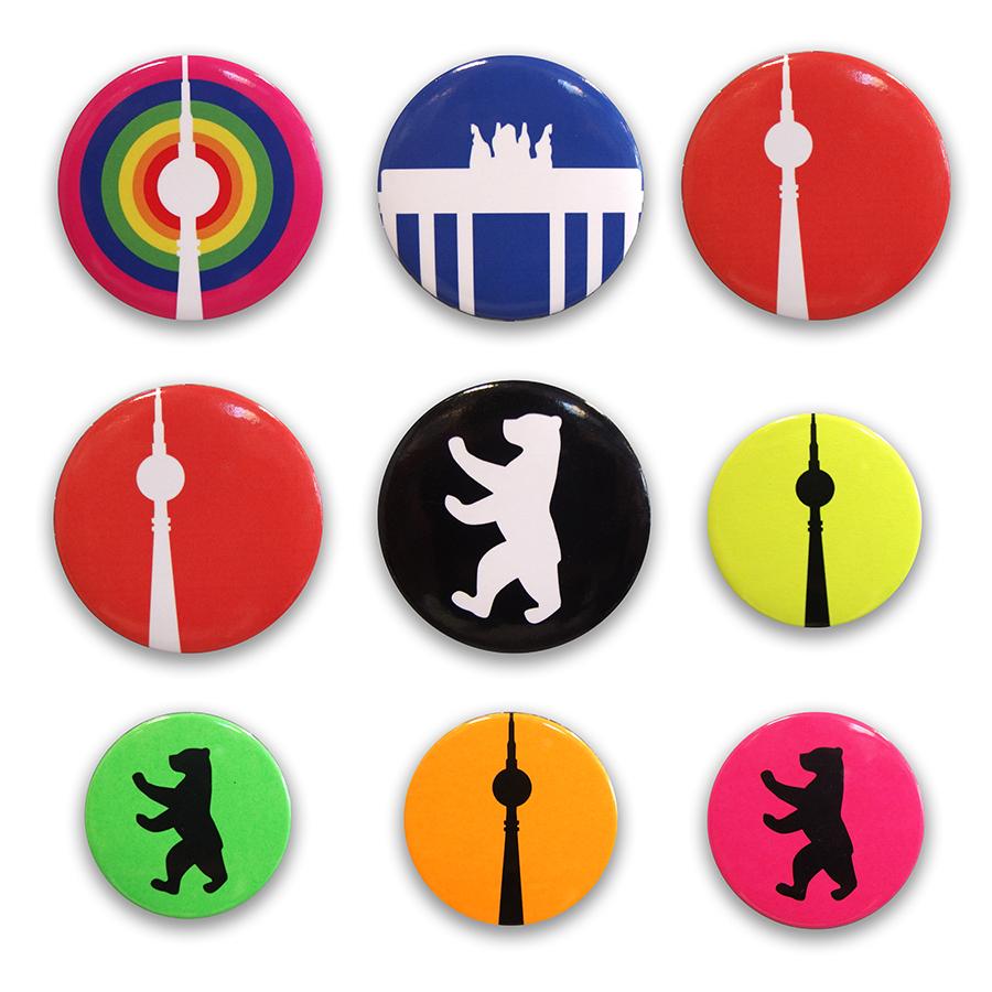 Berlin Souvenir Magnete rund, neon, bunt
