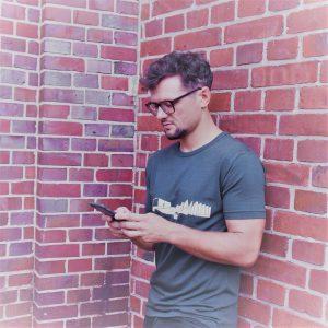 T-Shirt Architekturmotiv Berlin grau Bambus