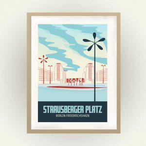 Berlin Vintage Travel Poster Friedrichshain