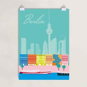 Berlin Poster bunt Spree und Gründerzeit DinA3