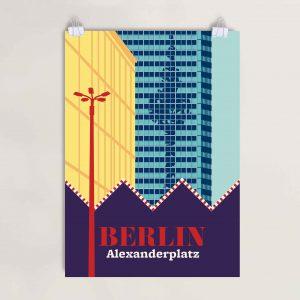Alexanderplatz Berlin Siebdruckposter Fernsehturm Spiegelung