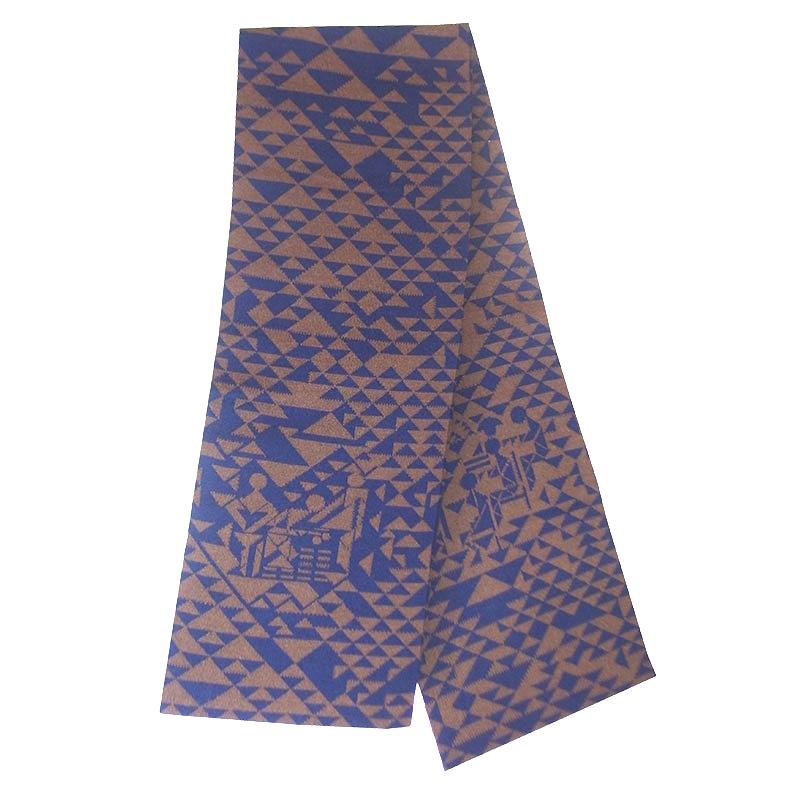 Merinoschal geometrisch blau braun