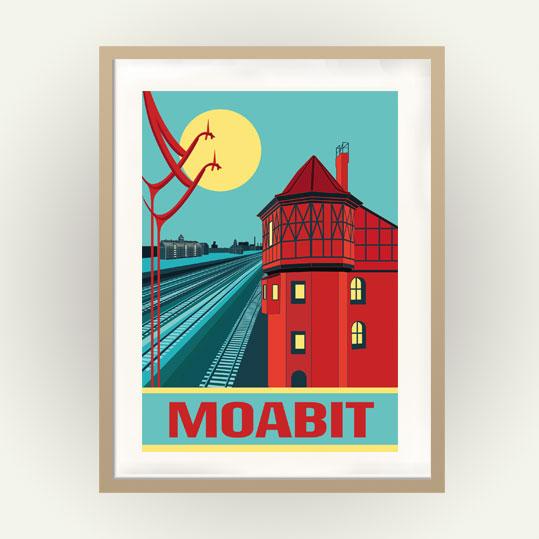 Retro Poster Berlin Moabit Westhafen