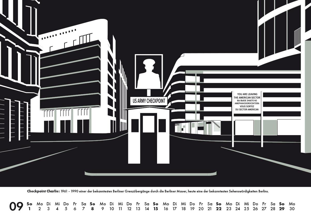 Checkpoint Charlie Berlinkalender Grafik