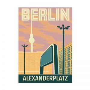 Postkarte Grafik Berlin Alexanderplatz