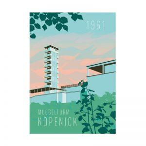 Postkarte Grafik Berlin Köpenick Müggelturm