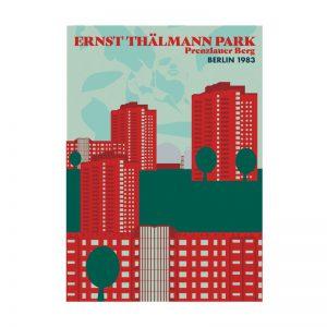 Postkarte Grafik Berlin Thälmannpark