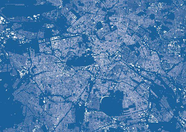 Stadtplan Poster blau