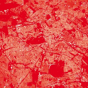 Berlin Stadtplan Geschenkpapier rot