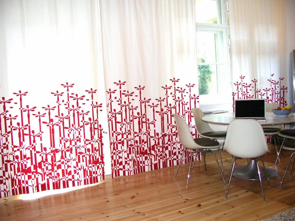 Großstadtpflanzen Vorhang in rot
