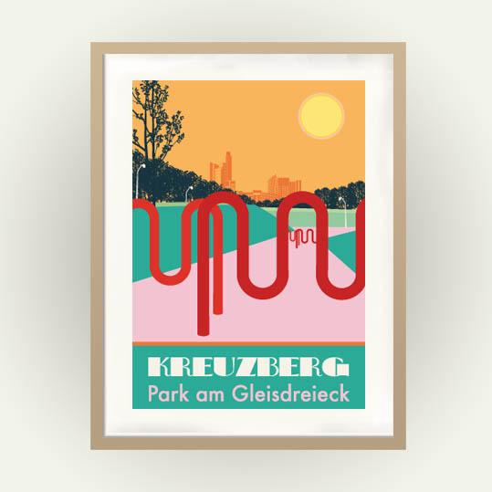 Berlin Poster: Park am Gleisdreieck, Vintage-Travel-Poster