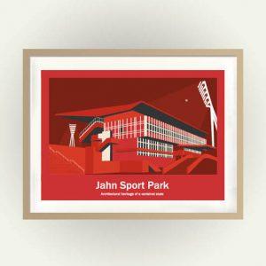 Das Fussballstadion Jahn Sport Park als Poster