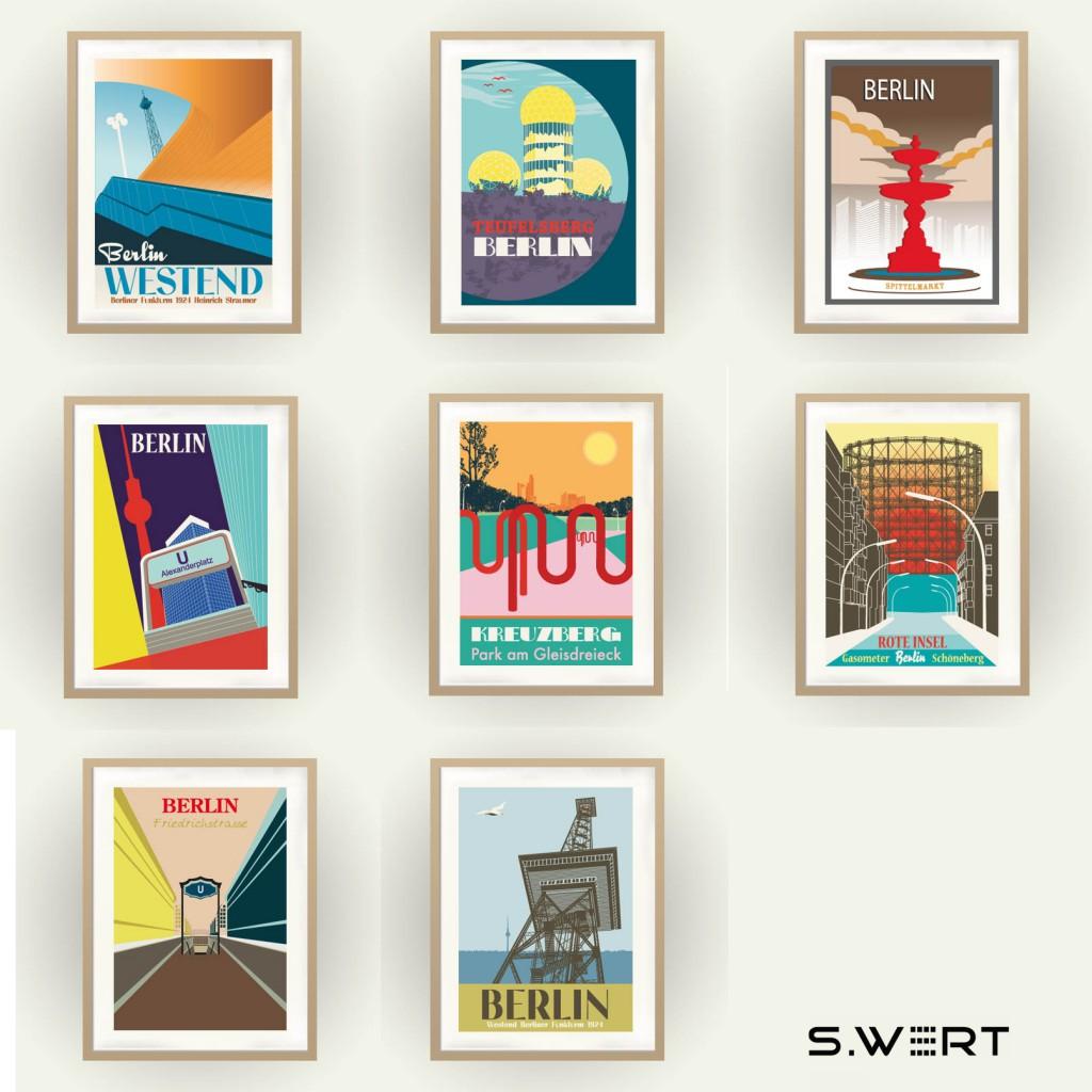 Berlin Poster im Vintage Travel Poster Stil