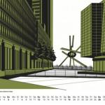 Grafik Berlin Kalender 2017 Potsdamer Platz
