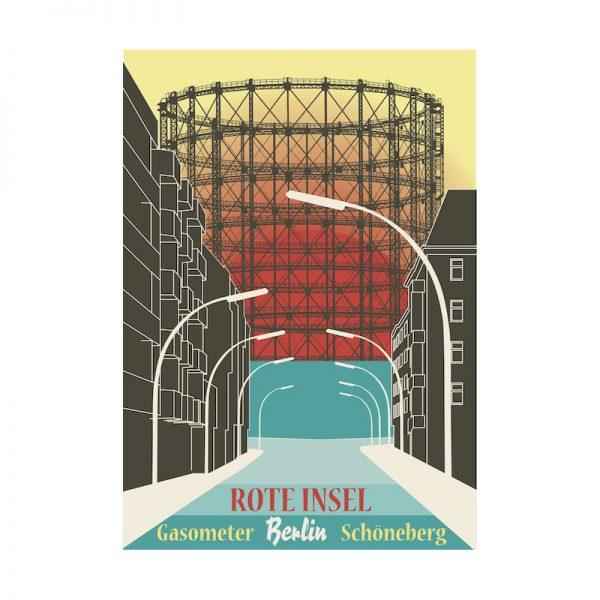 Berlin Retro Postkarte Gasoemeter Schöneberg A6