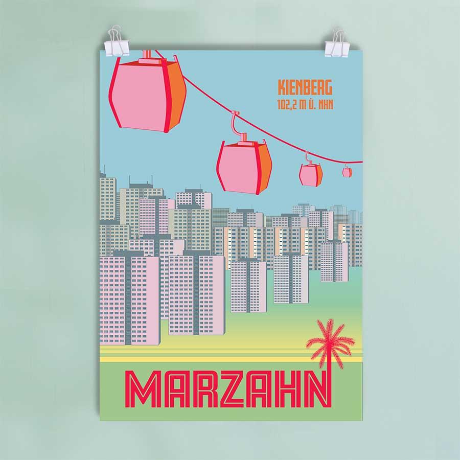 Ost Berlin Poster Marzahn Plattenbau Gondel IGA