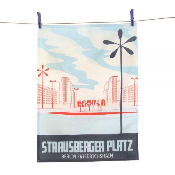Berlin Geschirrtuch STrausberger Platz Halbleinen Made in Germany