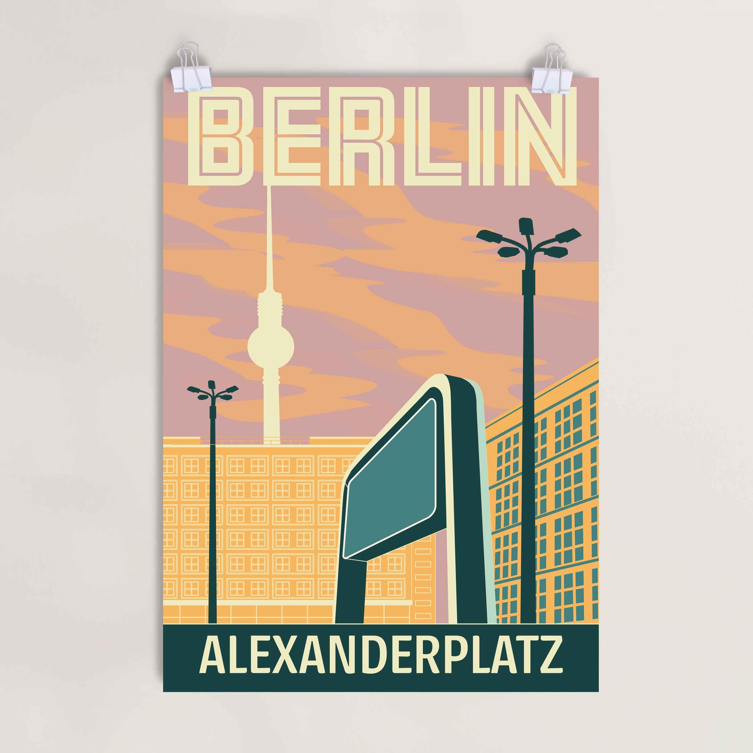 Alexaderplatz Berlin Poster Abendrot