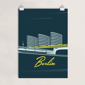 Berlin U Bahn Poster gelb Nacht