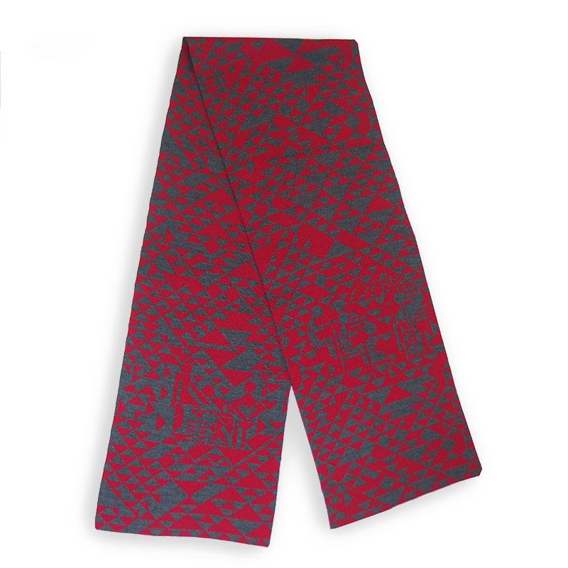 Strickschal geometrisch rot grau Merino