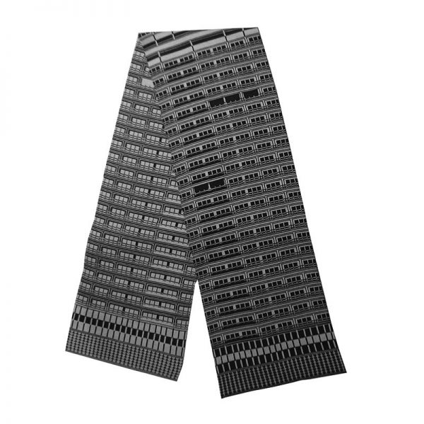 Strickschal Berlin Plattenbau grau anthrazit
