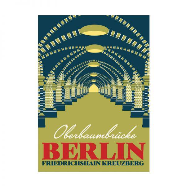 Postkarte Grafik Berlin Oberbaumbrücke