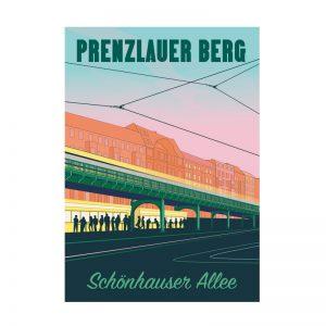 Postkarte Grafik Berlin Prenzlauer Berg Schönhauser Allee