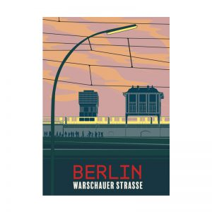 Postkarte Grafik Berlin Warschauer Strasse