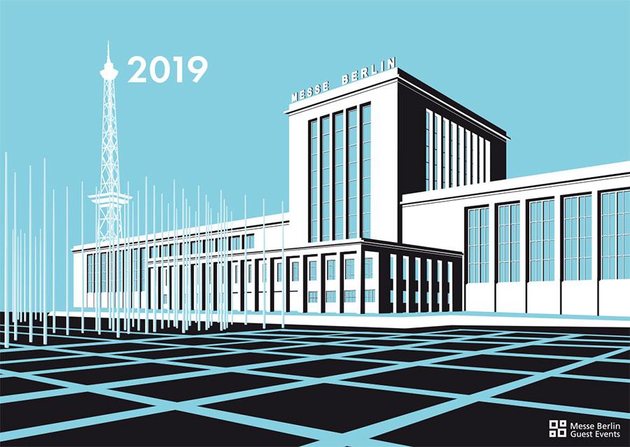 Grafik Kalender Messe Berlin 2019 Haupthalle von Richard Ermisch