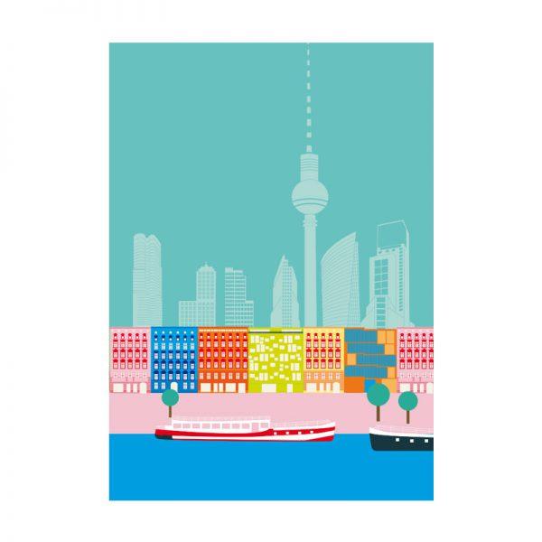 Berlin Skyline Postkarte Spree Union Boot