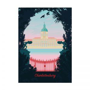 Retro Postkarte Berlin Schloss Charlottenburg
