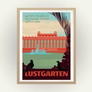 Berlin Retro Travelposter Lustgarten