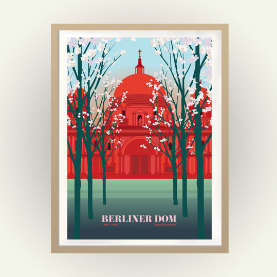 Vintage Berlin Poster Kirschblüte Dom