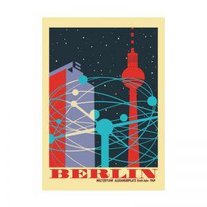 Berlin Postkarte Weltzeituhr