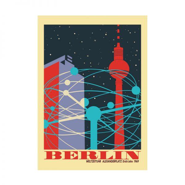 Berlin Poster Weltzeituhr Alexanderplatz