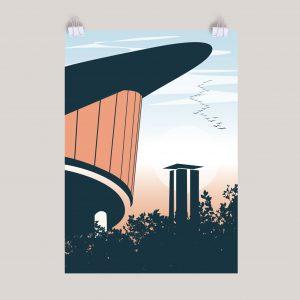 Berlin Retro Poster Tiergarten HKW