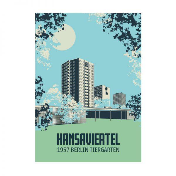 Postkarte Berlin Illustration Hansaviertel