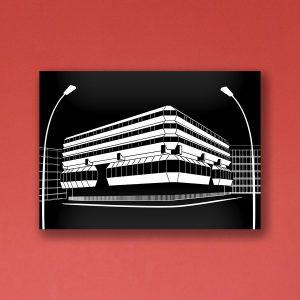 Berlin Poster Aludibond Tschechische Botschaft Brutalism