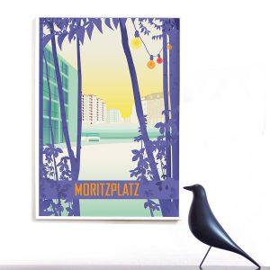 Berlin Moritzplatz Poster Retro
