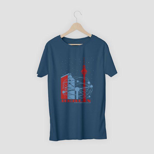 T-Shirt Berlin Weltzeituhr Marineblau
